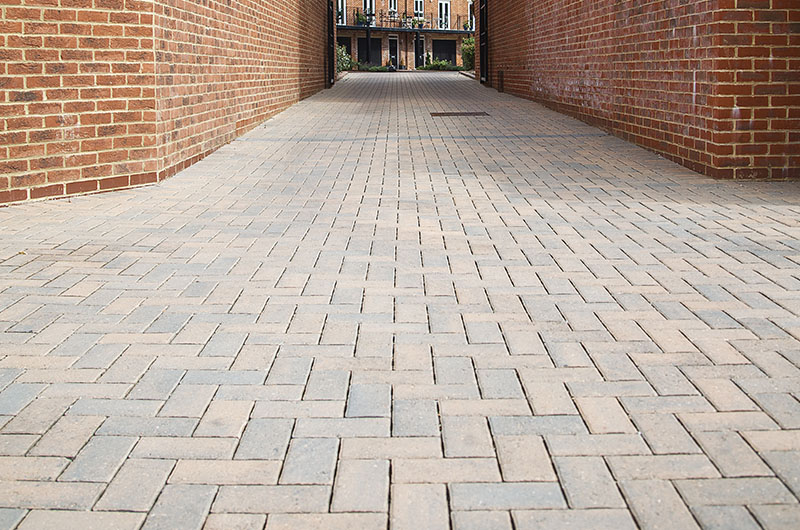 Formpave permeable paving components installed in a housing development