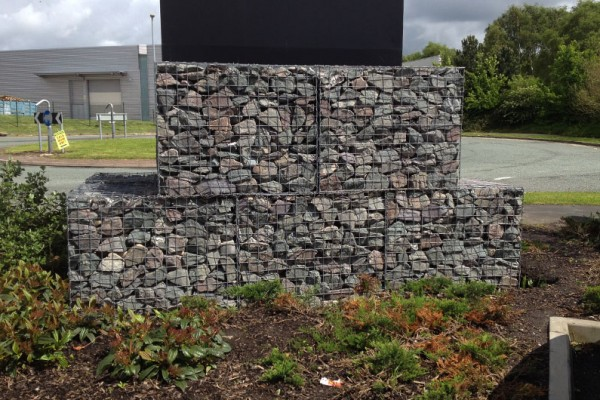 Wire mesh gabion baskets used at a retail park