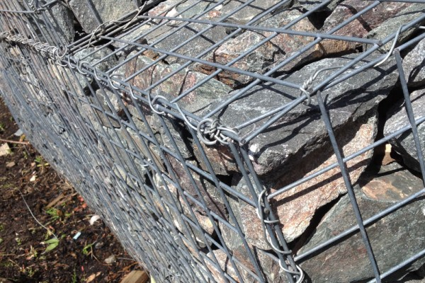 CLose up of wire mesh gabion baskets