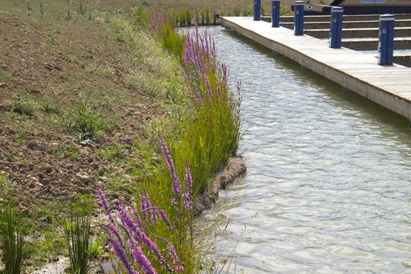Coir matting bunds installed on river banks to prvent soil erosion