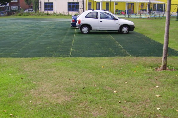 Grass protection mats prevent damage from cars