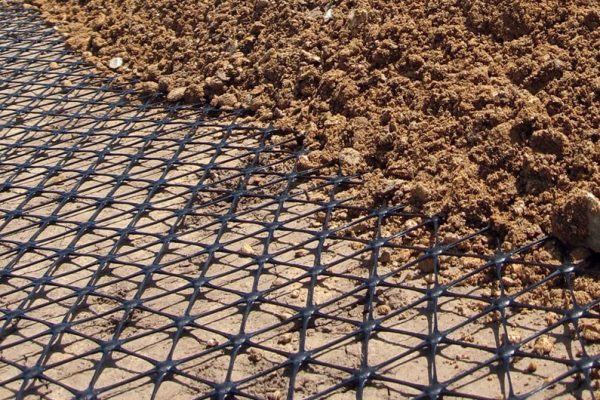 Tensar triax geogrid installed with overlay of soil