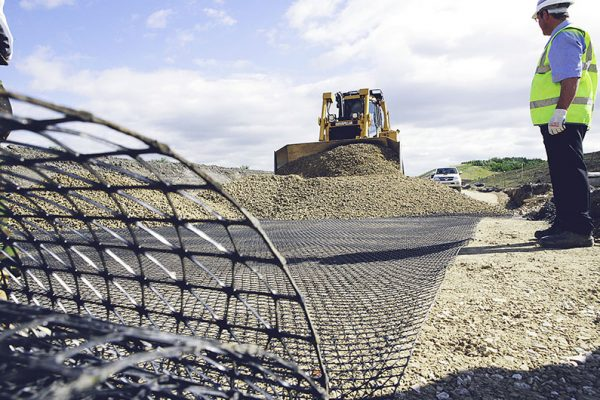 Installing Triax Geogrid on site