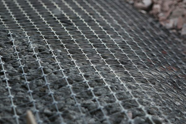 TCS Geotechnics Biaxial geogrid pictured on site