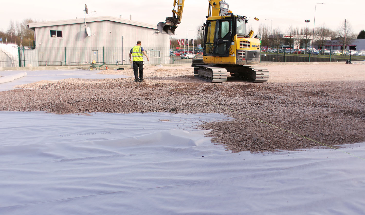 Non Woven geotextiles installed on site back filled with aggregate