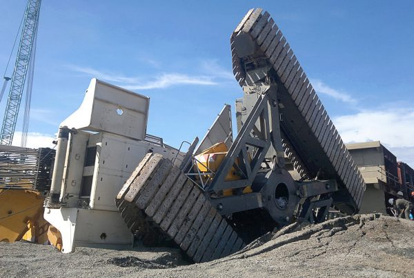 fallen crane due to poor ground conditions
