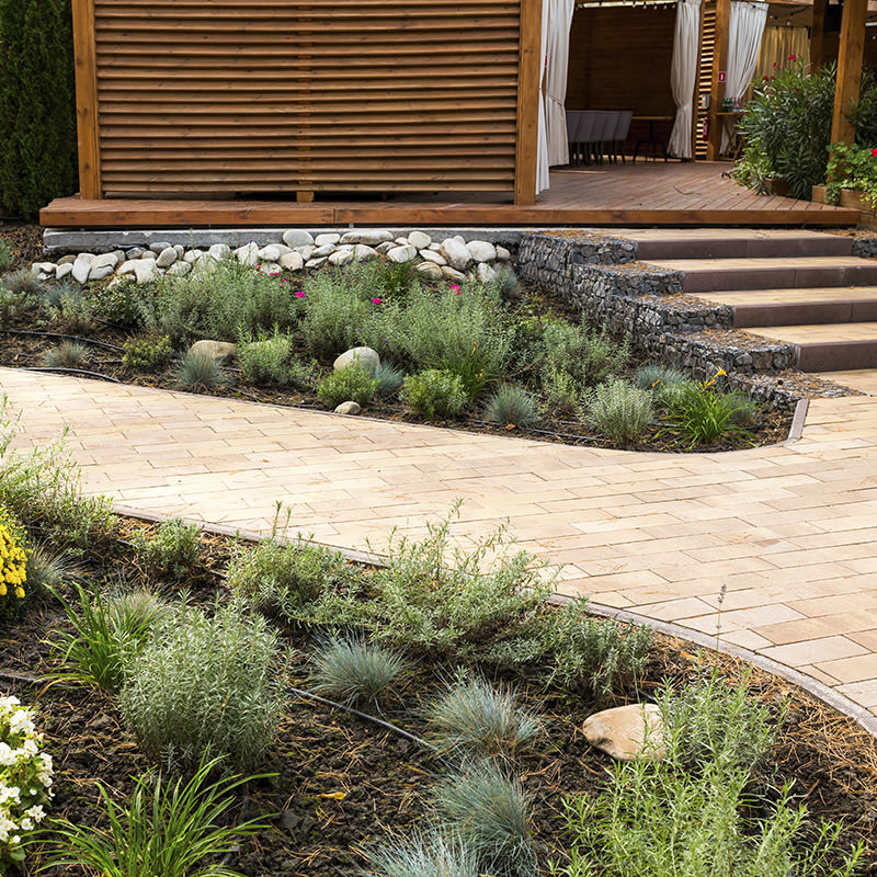 neat and tidy garden path with plants and gabion baskets either side