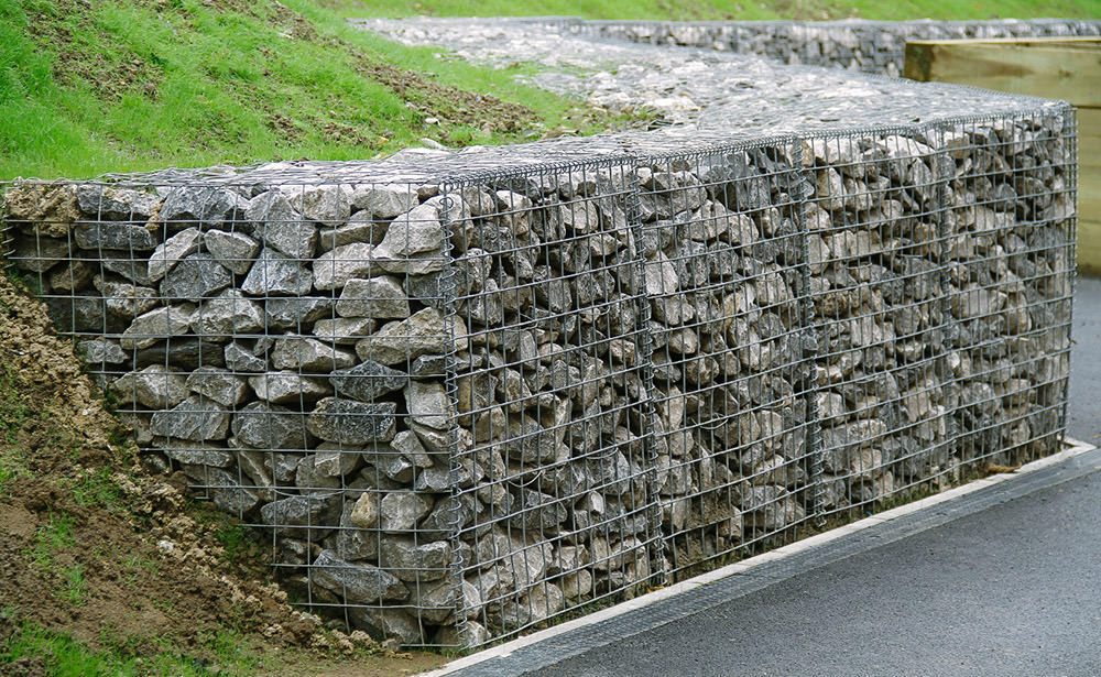 tcs gabion baskets used for a soil retention wall