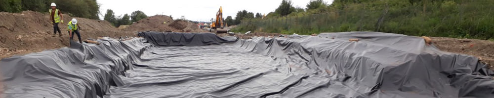 powerscrim hdpe geomembrane laid out and installed