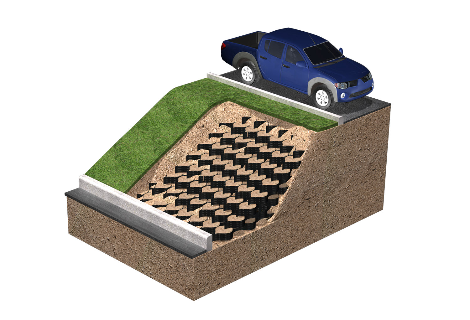 techcell earth retention wall 3d diagram