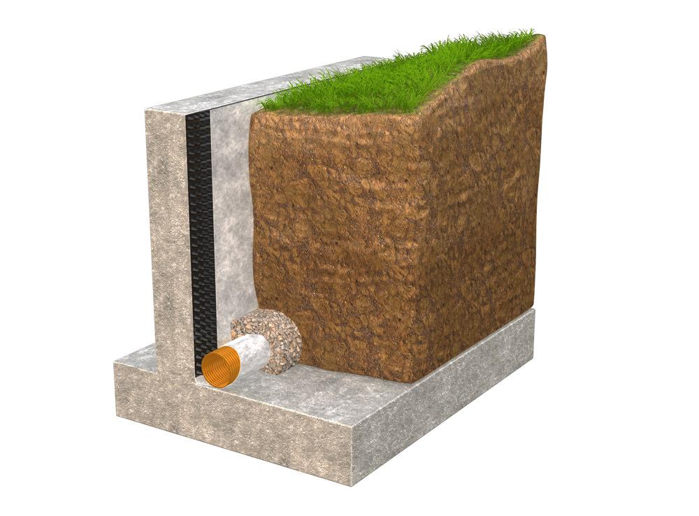 contrcrete retainig wall diagram showing drainage product